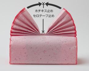 (4)適当な幅で包装紙をじゃばら状に折り、箱の頂点にプリーツを作る。 プリーツの中央をセロテープで仮止めする。 プリーツの両端を箱の上部中央に引っ張って扇形(